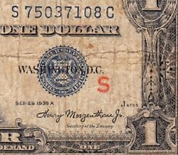 1935 A 1 Silver Certificate S Experimental Note Free Shipping S75037108c