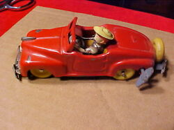Wind Up Red Convertible Sport Car Tin Litho Driver Occupied Japan Pressed Steel