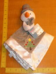 New Baby Gund Snowman My First Christmas Gray Security Blanket Lovey White Satin