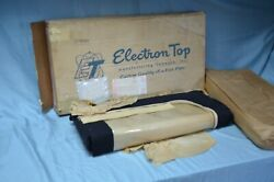 Nos 1950-51 Mercury Convertible Top And Curtain Black And Tan Cloth Vtg Rear Window