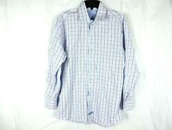 English Laundry Mens Shirt Size16 32 33 Button Front Blue Red Plaid Embroidered