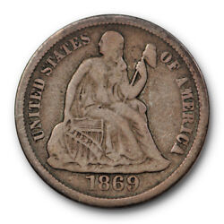 1869 S Seated Liberty Dime Very Fine To Extra Fine Original Us Coin 10407
