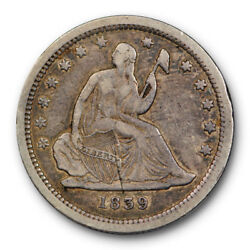 1839 Seated Liberty Quarter Very Fine To Extra Fine No Drapery Us Coin 153