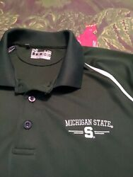 Michigan State Spartan Green Loose Under Armour Mens Golf Polo Shirt L