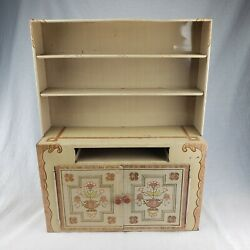 Vintage 1950's Ideal Toy Corp Metal Tin Litho Child's Toy Kitchen Cabinet Hutch