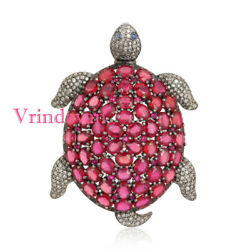 Natural Rosecut Diamond Ruby Tortoise 925 Silver Brooch Pendant Antique Jewelry