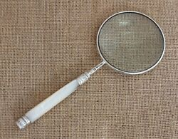 Sterling Silver Rimmed And Mother Of Pearl Handle Magnifying Glass