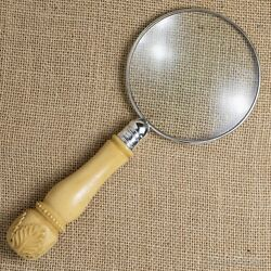 Sterling Silver Rim Magnifying Glass With A Carved Bovine Handle