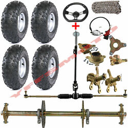 32 Atv Go Kart Rear Axle And Carrier Hub And 6 Wheel Rims And Wheel Steering Knuckle