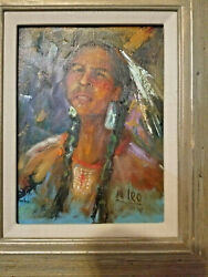 Native American Indian Painting Original Signed N Leo