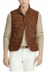 998 Polo Men Quilted Suede Down Brown Puffer Vest Gilet Jacket Xxl