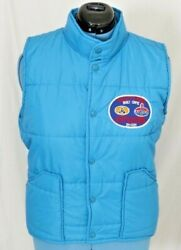 Vtg Rare Amoco Gas Station Patch Snaps Blue Winter Quilted Puffer Vest Men's M