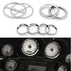8pcs Chrome Speedometer Gauges Bezels And Horn Cover Fit For Touring