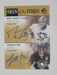 2012-13 Sp Authentic Sign Of The Times Two Fleury Staal Autos Rare Drawings
