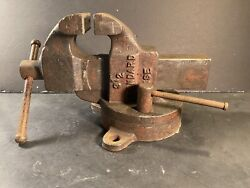 Antique Standard Heavy-duty 3-1/2andrdquo-jaws Base-bench Vise 31 Lbs