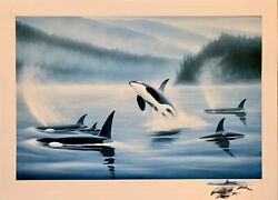 Robert Wyland Northern Pacific Orcas Hand Signed 1985 Rare Print.