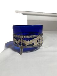 Sterling Silver Tray With Cobalt Blue Glass Candle Holder, Vintage