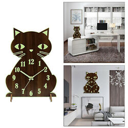 Walnut Color Wooden Silent Cat Luminous Wall Clock Battery Operated Numerals