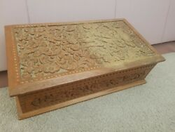 Antique Anglo Indian Sandalwood Hand Relief Carved Wooden Box Chest Wood Carving