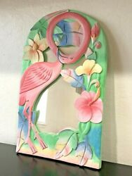 Pink Flamingo Hand Carved Wooden Painted Mirror