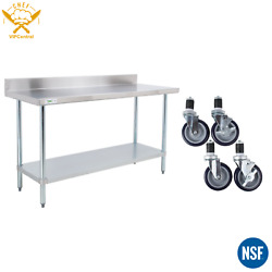 30 X 72 Stainless Steel Commercial Work Table 4 In Backsplash With Caster Wheels