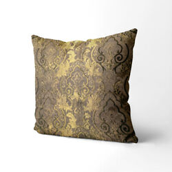 Wk203a Wood Brown Damask Chenille Flower Throw Cushion Cover/pillow Case