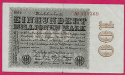Germany Weimar Rep 100 Million Mark 1923 No Before Serial Number
