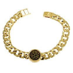 Bracelet 14k Yellow Gold And Antique Authentic Rare Bronze Widow's Mite Coins