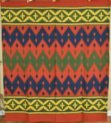 Vibrant Vintage Beacon Mills Camp Blanket Great Colors And Nice Indian Design