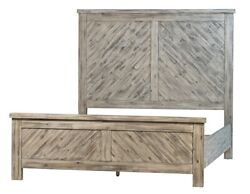 86 Landro Queen Bed Reclaimed Acacia Wood With Veneer Antique Grey Finish