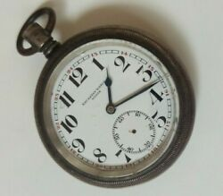 Big 58mm Cyma Railroad 0.900 Silver And Gold Case Swiss Pocket Watch Repair/parts