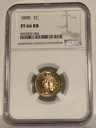 Ngc Pf-66 Rb 1890 Indian Head Cent Fiery Clearly Full-red Proof