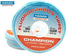 Hanak Champion Fluorocarbon Tippet 50m Spools Competition Fly Leader Material