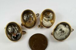 Antique Victorian English 18k Gold Essex Crystal Dog Buttons / Links C1880