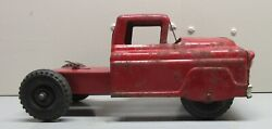 Vintage Marx Pressed Steel Red Semi Tractor / Trailer Truck Cab