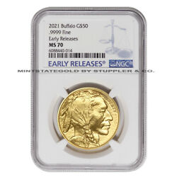 2021 50 Gold Buffalo Ngc Ms70 Early Releases Er 1oz American Bullion Coin