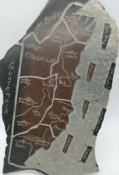 Vintage One Of A Kind Slate Stone Map From East Of Guatemala Hand Carved Chesele