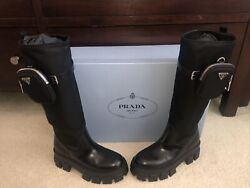 Prada Tall Black Monolith Combat Boots With Pouch 39 Nib W/bags Rare Sold Out