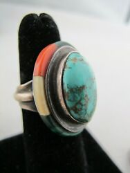 Vintage Turquoise Cabochon Halo Ring Sterling Silver Signed Md Southwestern