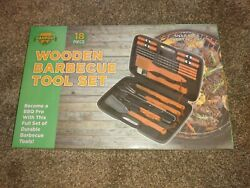 Campout Wooden Barbeque Tool Set 18 Piece Grill Bbq New