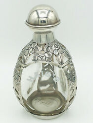 Antique Sterling Silver Overlay Haig's Pinch Whiskey 3 Sided Bottle. Pre 1948.