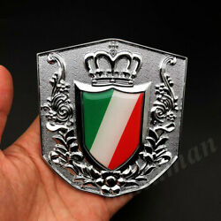 Metal Chrome Italy Italian Flag Royal Crown Car Front Grille Emblem Badge Decals