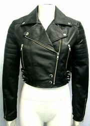Lucy Ladies Crop Fashion Design Casual Short Style Black Napa Leather Jacket