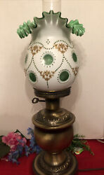 Beautiful Fenton Crest Green Coin Dot Crimped Gold Guild Lamp W/ Brass Base