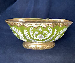 Lefton China Green Gold Oval Footed Bowl Centerpiece Urn Planter Home Décor