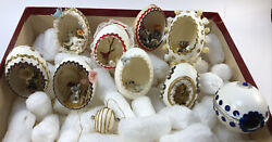 Vintage Real Egg Diorama Ornaments Animals Easter Angel Ship In A Bottle Qty X 9