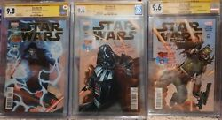 Star Wars Comic Lot 2015 1-3 Signed By Bulloch, Prowse, Mcdiramid Cgc Ss 9.6-9