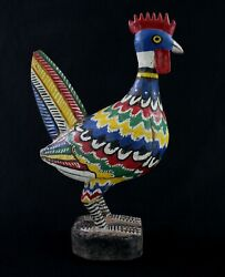 Art African Ethnic - Puppet Bird Spotted Guinea Fowl Bozo Wood And Painting - 43