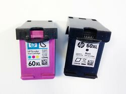 Lot 2 Genuine Empty Hp Ink Cartridges 60xl Black And Color Never Refilled - Empty