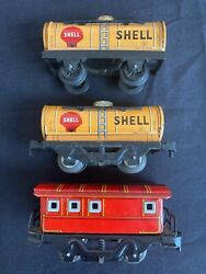 Rare Made In Japan Tin Plate Model Train 2 Shell, 1 Caboose